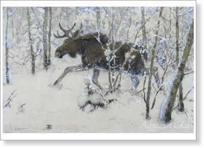 Komarov Alexey. Running Elk. Art print on canvas - paintings, sale of paintings
