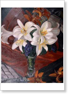 Roerich Svetoslav. Lilies. Art print on canvas