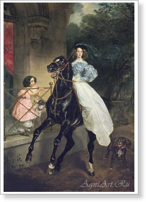 Bryullov Karl. Lady on Horseback. Fine art postcard A6