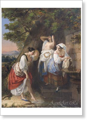Bryullov Karl. Three Italian Women at the Fountain. Art print on canvas
