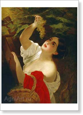 Bryullov Karl. Noon in Italy (An Italian Woman Picking Grapes). Art print on canvas
