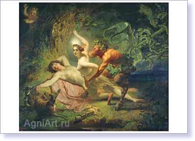 Bryullov Karl. Diana, Endymion and Satyr. Art print on canvas