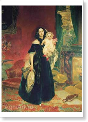 Bryullov Karl. Portrait of M.A. Beck with her Daughter M.I. Beck. Art print on canvas