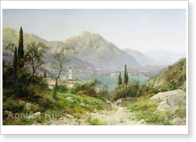 Velts Ivan. View of Northern Italy. Fine art postcard A6