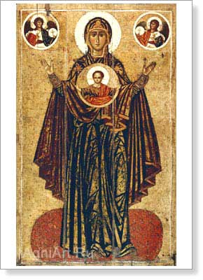 Icons. Our Lady the Great Panagia (Orant). Art print on canvas