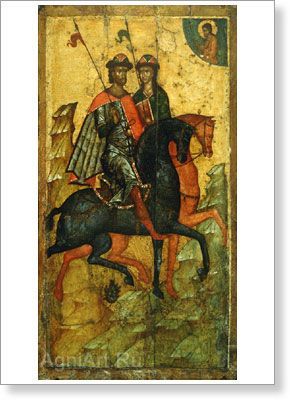 Icons. Boris and Gleb on Horseback. Art print on canvas