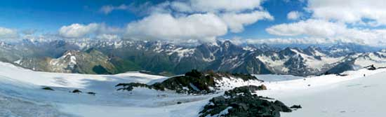 Mountains. The Caucasus. View from Mount Elbrus. Poster A3+ (25x70 cm)
