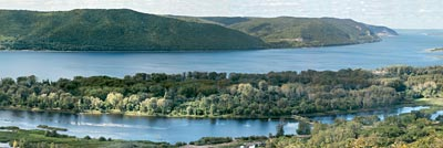 Volga landscapes. The Samara Bend. View of the Volga in the neighbourhood of Krasnaya Glinka. Poster A3+ (25x70 cm)