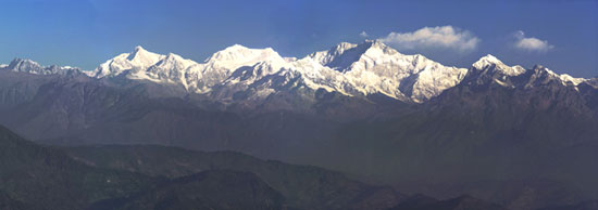 Mountains. The Himalayas. View of Mount Kanchenjunga. Poster A3+ (25x70 cm)