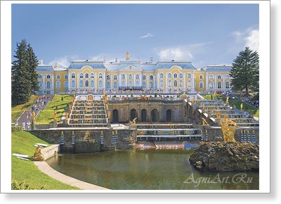 Saint-Petersburg. St. Petersburg. The Grand Palace And The Grand Cascade In Petrgof. Poster A3 (30x40 cm)