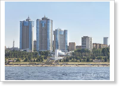 Samara. The Ladya Housing Estate. View from the Volga. Poster A3