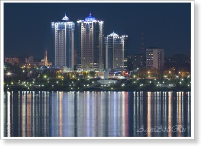 Samara. The Ladya Housing Estate. A Night View from the Volga. Poster A3
