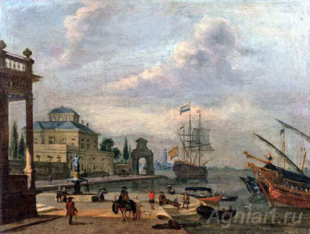 Storck, Abraham. Sea Harbour. Art print on canvas