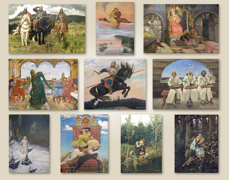 Posters for children. Fairy tale scenes in the pictures of Victor Vasnetsov. A set of art reproductions A3