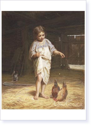 Zhuravlyov Phirs . Girl with Hens. Fine art postcard A6