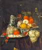 Still life with fruits and oysters. Fine art print A3