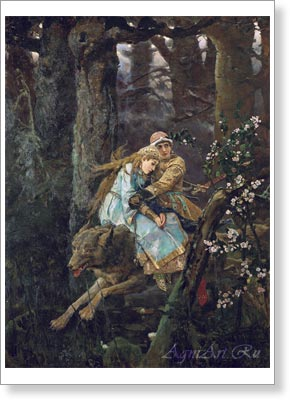 Posters for children. Ivan Tsarevitch on the Grey Wolf. Fine art print B2
