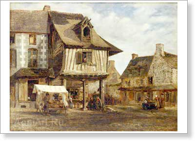 Rousseau Theodore. Market Place in Normandy. Fine art postcard A6