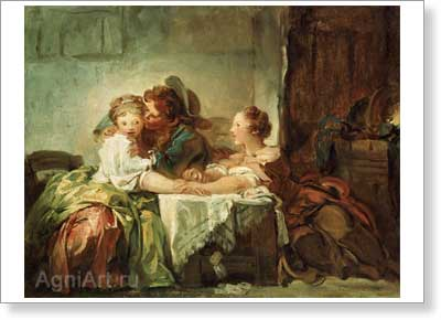 Fragonard Jean Honore. The Snatched Kiss. Art print on canvas