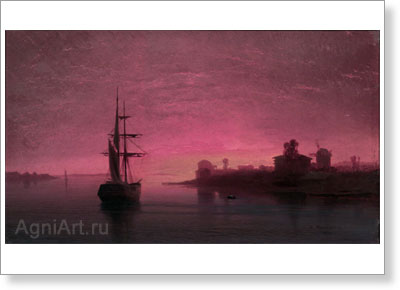Meshchersky Arseny. Ship in the Evening Twilight. Art print on canvas