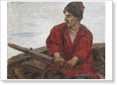 Surikov Vasily. Cassack in a Boat. Art print on canvas