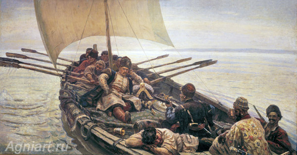 Surikov Vasily. Stepan Razin. Art print on canvas