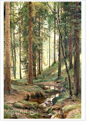 Shishkin Ivan. Stream in the Forest (On the Hillside). Fine art print B2