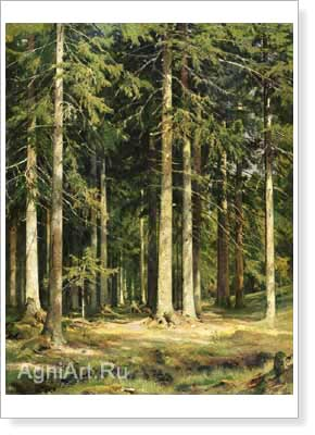 Shishkin Ivan. Fir Forest. Art print on canvas