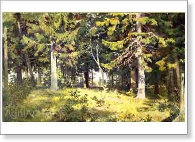 Shishkin Ivan. Glade in the Forest. Art print on canvas
