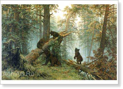 Shishkin Ivan. Morning in a Pine Forest. Art print on canvas
