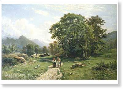 Shishkin Ivan. Swiss Landscape. Art print on canvas
