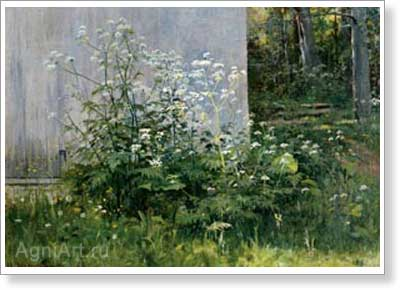 Shishkin Ivan. Flowers at the Fence. Art print on canvas