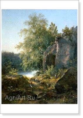 Shishkin Ivan. View on the Island of Valaam. Fine art print A3