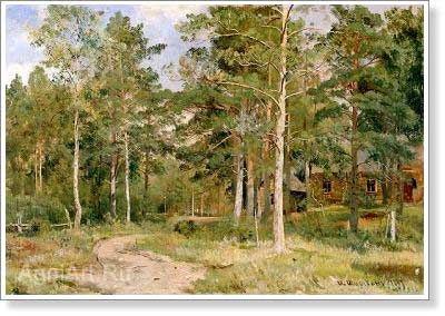 Shishkin Ivan. Autumn Landscape: Way through the Forest. Art print on canvas