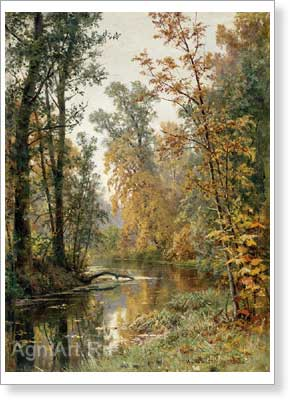 Shishkin Ivan. Autumn Landscape: Park in Pavlovsk. Art print on canvas