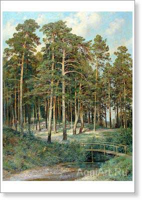 Shishkin Ivan. Bridge in the Forest. Art print on canvas