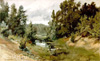 Shishkin Ivan. Forest River. Art print on canvas