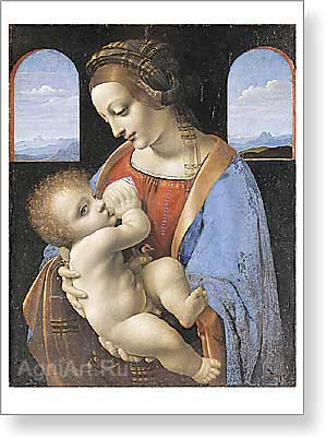 Leonardo da Vinci. Madonna and Child (The Litta Madonna). Art print on canvas