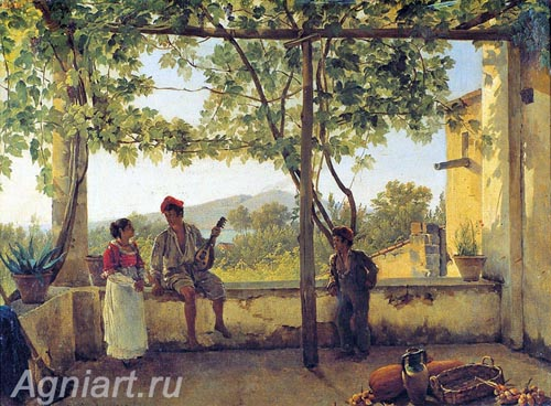 The Tretyakov Gallery. Shchedrin Sylvester. Terrace in Sorrento. Art print on canvas