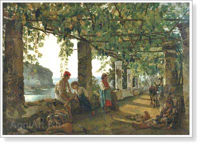Shchedrin Sylvester. Verandah Entwined with Grape. Art print on canvas