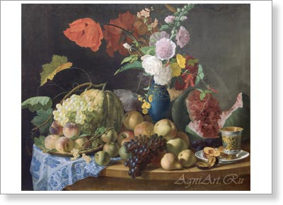 Toropov Foma. Still Life with Flowers and Fruit. Fine art print B3