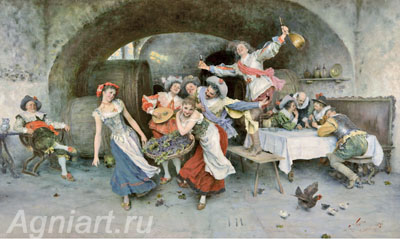 Scene in a Tavern. Art print on canvas - paintings, sale of paintings