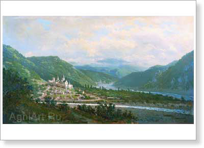 Vereshchagin Pyotr. Caucasus - Akananur Village. Art print on canvas