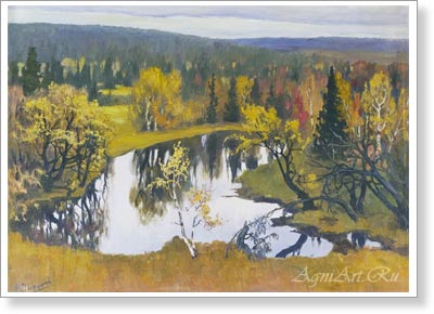 Vakhrushov Feodosy. Autumn in the Totemsky District. Art print on canvas - paintings, sale of paintings
