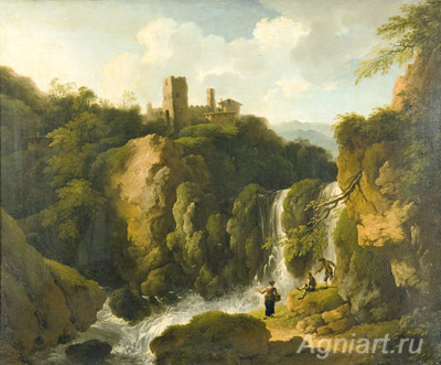Dietrich Christian Wilhelm Ernst. Waterfall in the Mountains. Fine art print A3