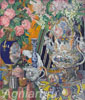 Golovin Alexander. Still Life. Porcelain and Flowers.  Art print on canvas