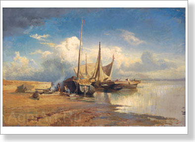 Vasiliyev Fyodor. View of the Volga - Barges. Fragment. Fine Art Print B2