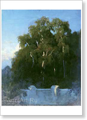 Vasiliyev Fyodor. Birch Grove in the Evening. Art print on canvas
