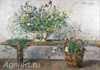 Konchalovsky Pyotr. Flowers on the bench. Art print on canvas