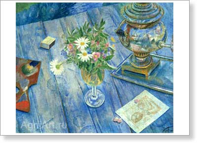 Petrov-Vodkin Kuzma. Still Life with a Samovar. Fine art postcard A6